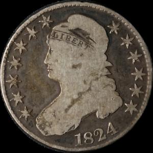 1824 Bust Half Dollar Nice G+ 0-115 R.2 Nice Eye Appeal Nice Strike