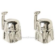 Star Wars Boba Fett Helmet  Stud Post Insertion Chrome Color Earrings Licensed