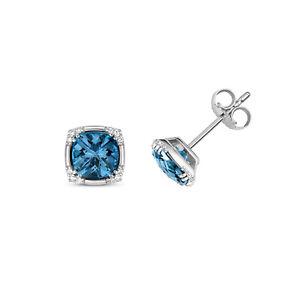 London Blue Topas & Diamant Kissen Ohrstecker Weiß Goldene Nieten