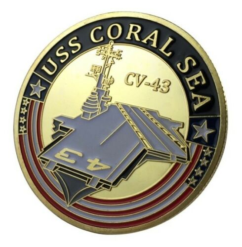 United States NavyUSS Coral Sea CV-43Military Gold Plated Coin U.S