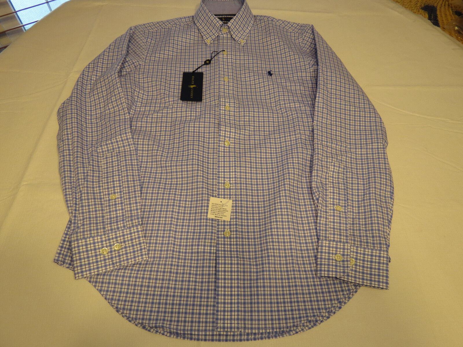Ralph Lauren Mens XL navy bluee classics 540001 cotton plaid button up Shirt