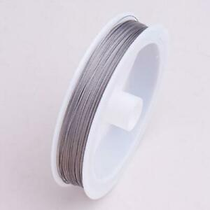 Nylon-Coated-Stainless-Steel-Beading-Wire-90m-0-35mm-Silver