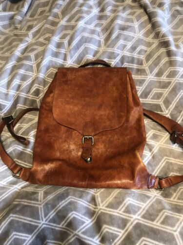 Cognac Leather Backpack Purse