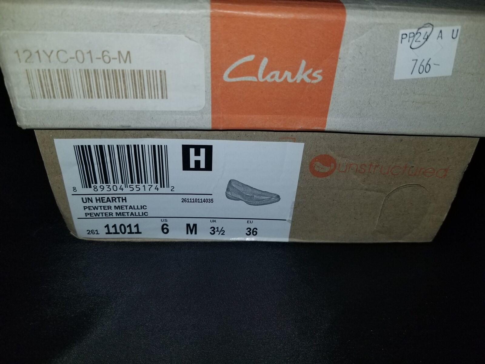 NIB Clarks Un Hearth Pewter Metallic Farbe Flats Größe 6 Medium US/3.5 UK NEU