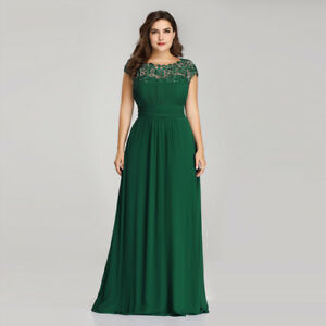 14619e118ff Details about UK Ever-Pretty Long Lace Neck Green Bridesmaid Dresses  Evening Formal Gown 09993