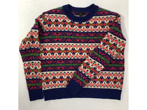 J-Crew-Womens-Pullover-Sweater-Pink-Nordic-Fair-Isle-Long-Sleeves-Lambswool-XXS