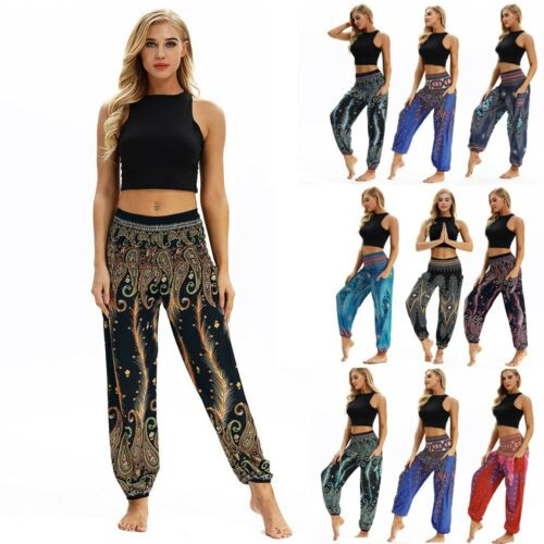 Uomini Donne Loose Pantaloni Da Yoga Larghi Boho Sport Palestra Aladino Harem Pants DAILY