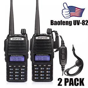 2x Baofeng UV-82L 2M/70cm V/UHF Dual-Band Dual PTT Ham Two-way Radio Transceiver