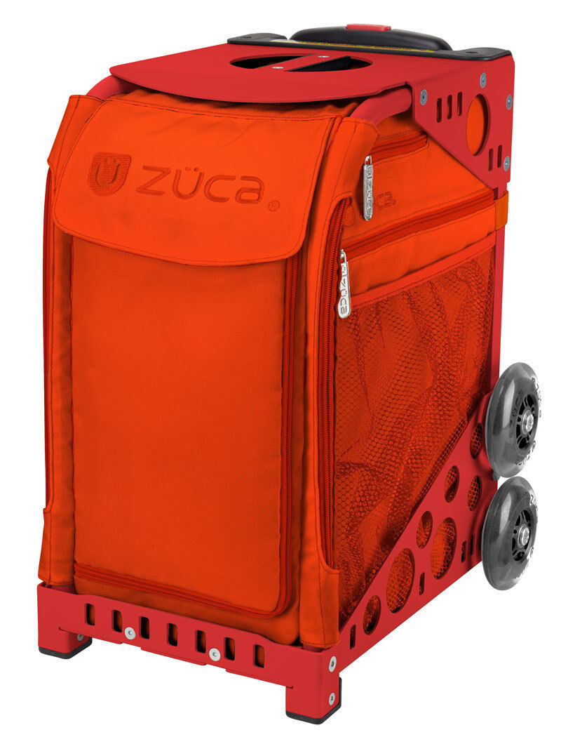 ZUCA Bag PERSIMMON Insert & Red Frame w  Flashing Wheels -FREE SEAT CUSHION  save on clearance