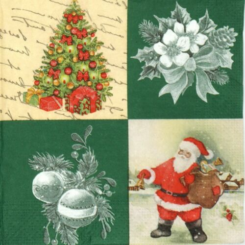 4x Paper Napkins for Decoupage Decopatch Craft Green Christmas