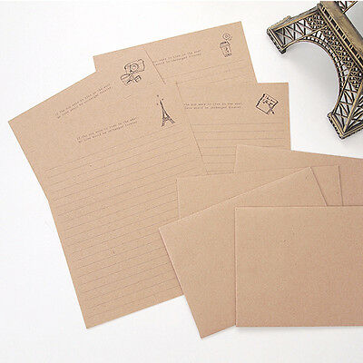 NEW Brown Vintage Style 8sh Writing Stationary Paper 4sh Envelope Letter set