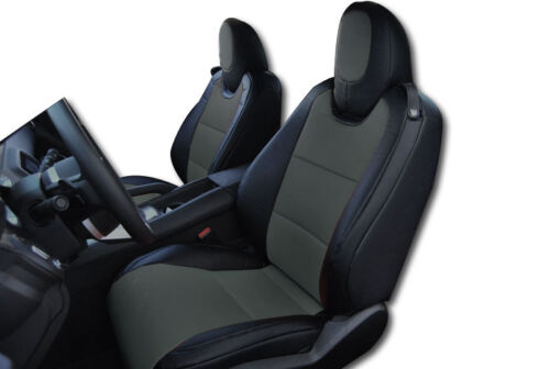 CHEVY CAMARO 2010-2015 BLACK//CHARCOAL IGGEES.LEATHER CUSTOM FIT FRONT SEAT COVER