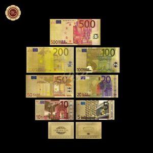 WR-7stk-Euro-Set-von-5-bis-500-Banknote-Geldschein-24k-Gold-mit-Farbe