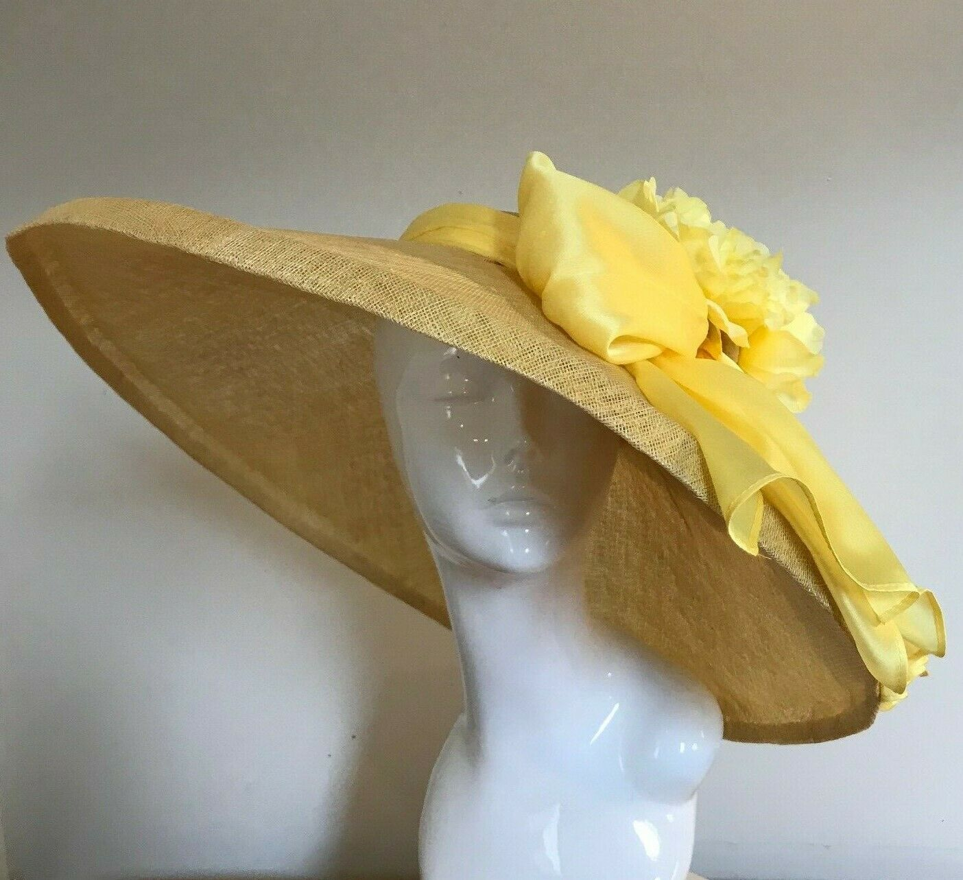 Exclusive Yellow Designer Millinery by Hat Couture Wedding Bridal AscotHat