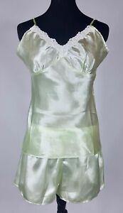 98565c3a8eb27 Pajama Mania Women s Satin Pajama Set M Light Green Shiny Cami Top ...