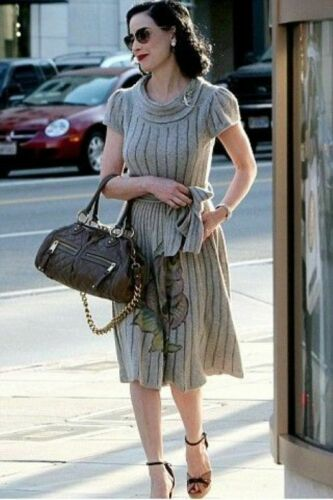Dita Von Teese Sweater Dress Grey Pin Up Floral S… - image 1
