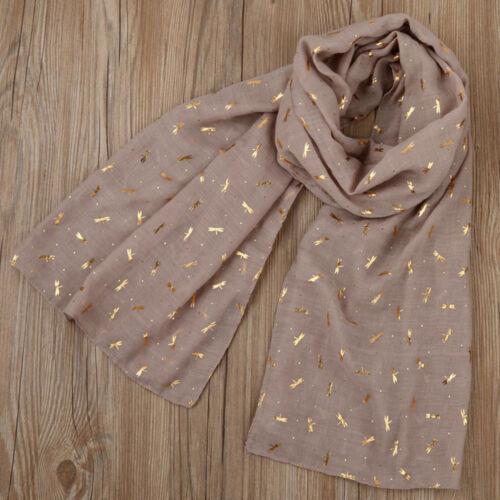Cotton Blend Gold Foil Dragonfly Print Women Shawls Pashmina Stole Scarf Scarves