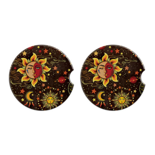 Set of 2 Round Ceramic Car Coaster For Drinks Coffee Tea Beverage Cup Holder
