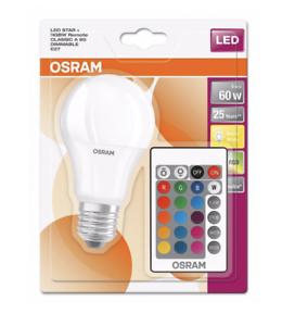 9 W Osram DEL Star Couleur Changeante GLS A60 RGBW Télécommande Dimmable 806 lm
