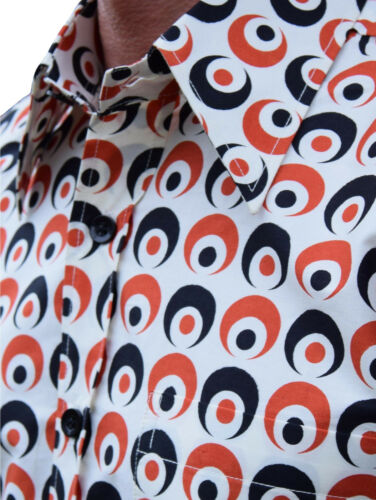 CHENASKI CREME BLACK /& RED EYEBALL SHIRT MOD RETRO 60/'S NORTHERN SOUL CLOTHING