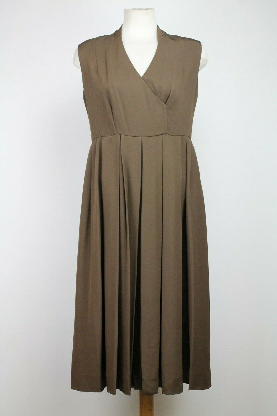 St.John Braun Metallic Wolle Seidenkleid, Größe 6