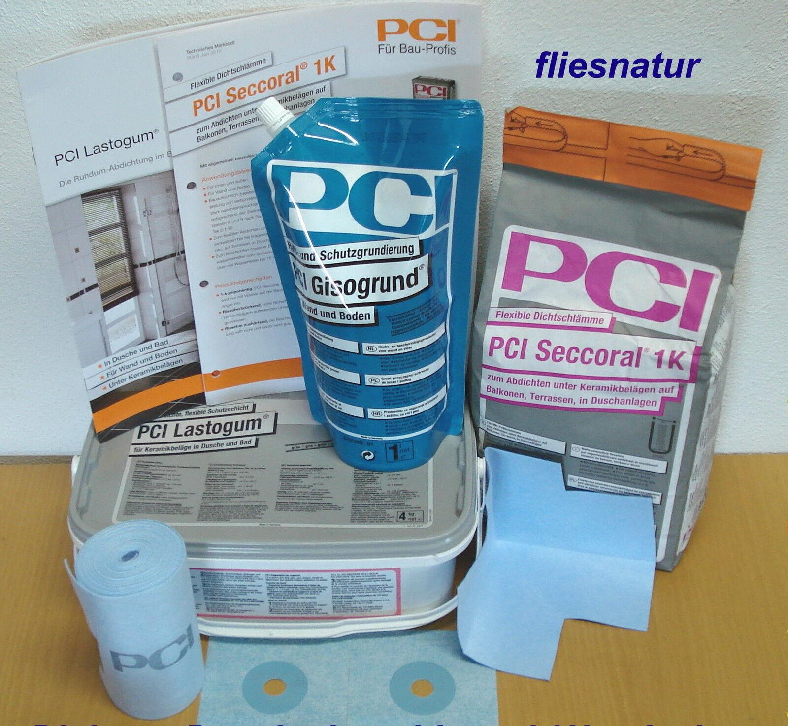 /Set PCI-Dichtset Lastogum,Seccoral für begehbare Dusche-2 Wände,Fliesen