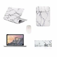 """5 IN 1Macbook Pro 13"""" A1278 Marble White Case + Keyboard Cover + LCD+ Bag+ Mouse"""