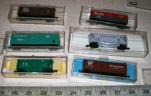 6-X-Atlas-N-Freight-Cars-PENNSYLVANIA-PENN-CENTRAL-NYC-PACEMAKER-NEW-YORK-LN-Box
