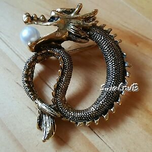 vintage gold chinese dragon pearl brooch pin fashion jewellery ebay. Black Bedroom Furniture Sets. Home Design Ideas