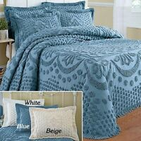 Tufted Chenille Bedspread 100% COTTON Soft Elegant Kingstone Coverlet Hem 110""