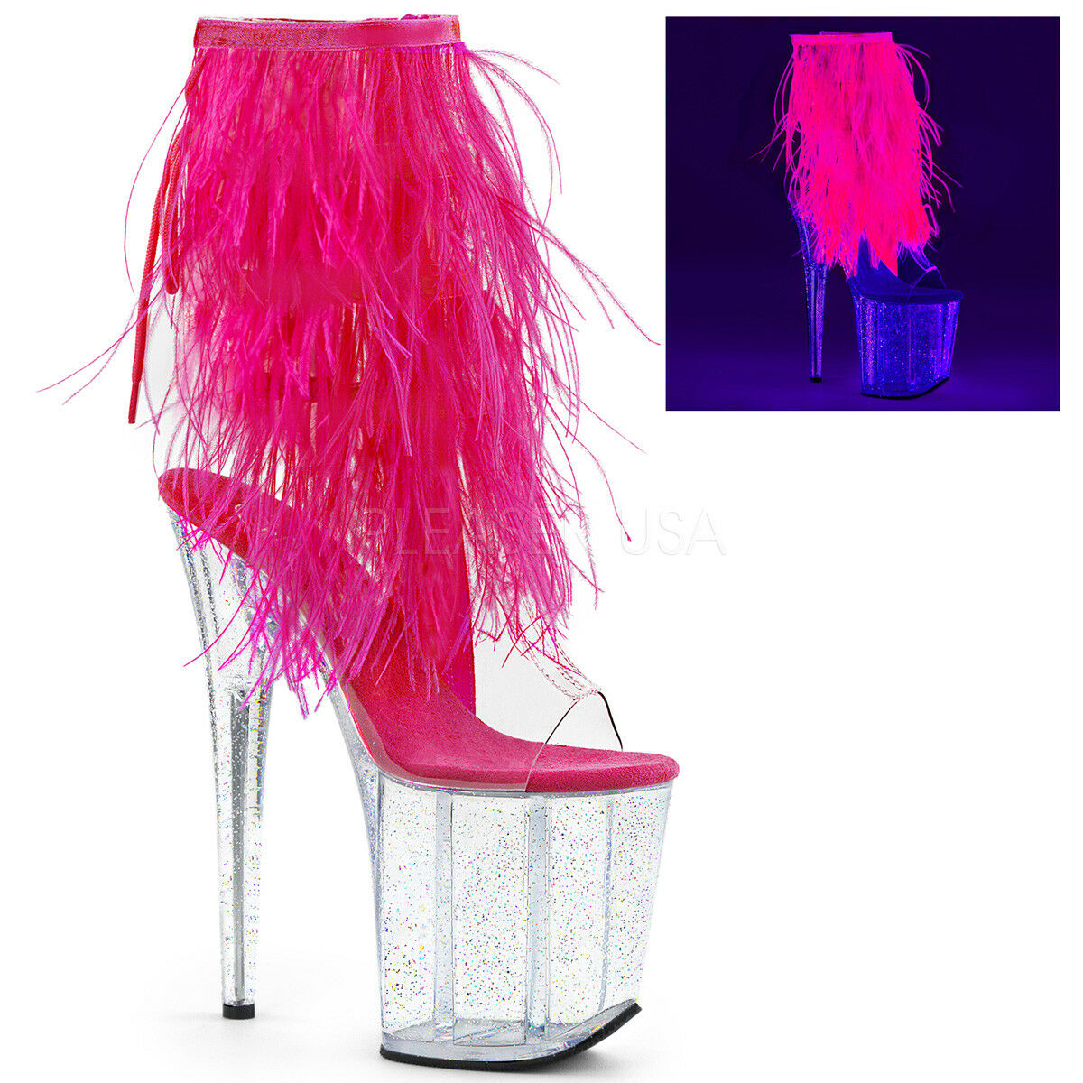 8  Clear Pink Feathers Glow in the Dark Dancer Stripper Heels Boots size 9 10 11