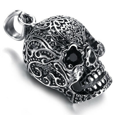 Mens Gothic Biker Stainless Steel Pendant Necklace, Skull, Black Crystal, KR5652