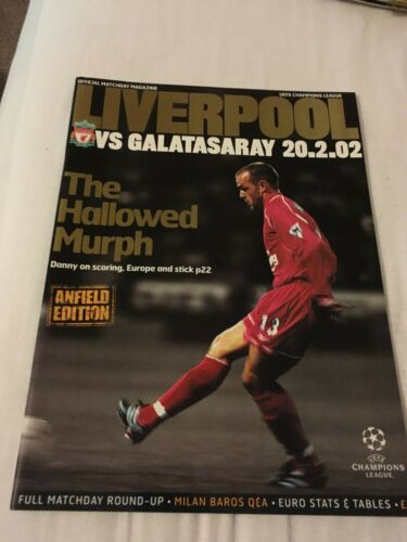 Liverpool V Galatasary 2002 champions league programme