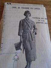 (104) ANCIEN PATRON MODES ET TRAVAUX ROBE DE CHAMBRE  TAILLE 1962 T40/44/48