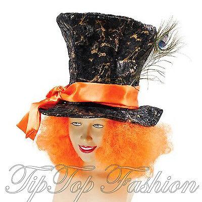 Nuovo Mad Hatter Top Hat Con Capelli Alice Nel Paese Delle Meraviglie Costume Da Uomo Accessorio-mostra Il Titolo Originale Processi Di Tintura Meticolosi