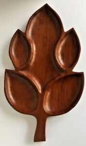 Vintage-Wood-Mid-Century-5-Compartment-Leaf-Serving-Dish-Large-Tray-20-5-x-11-5