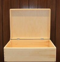 Large Wooden Chest - Bulk Buy 10 - Storage Box Untreated Wood 40x30x14cm Sd140b