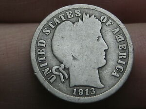 1913-S Barber Silver Dime G Uncertified