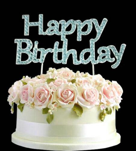 Strass gem bleu joyeux anniversaire g teau anniversaire argent dessus gb ebay - Gateau anniversaire rapide ...