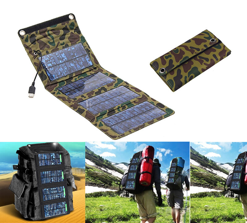 5V 7W Portable Folding Solar Panel Charger USB Output iSolar Controller  Cell