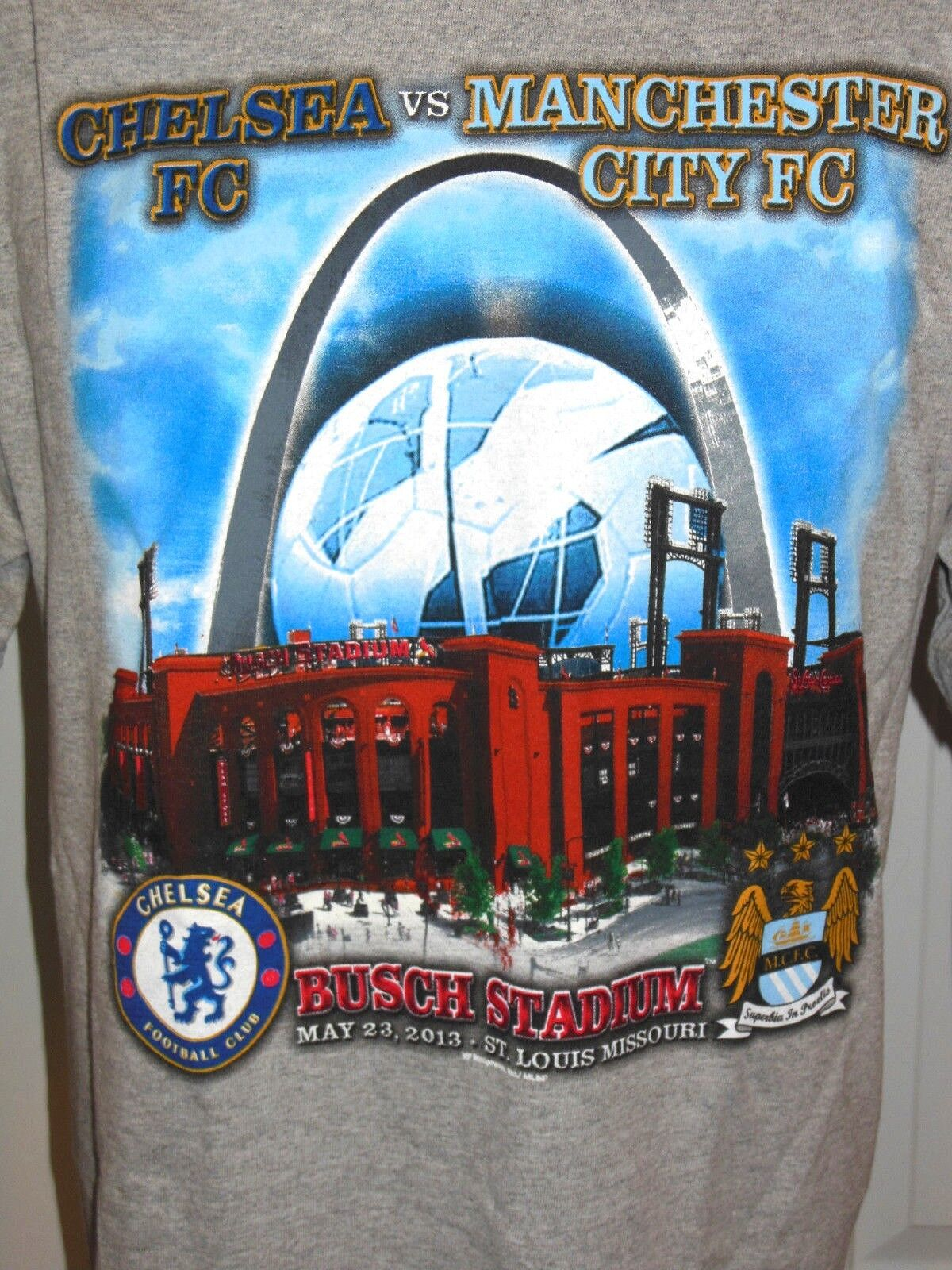 CHELSEA VS MANCHESTER CITY 2013 FOOTBALL SOCCER Short Sleeve T-shirt Größe L HTF