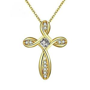 Halsketten & Anhänger WohltäTig Damenkette Kreuz Anhänger Zirkonia 750 Gold 18k Vergoldet Gelbgold A2846l