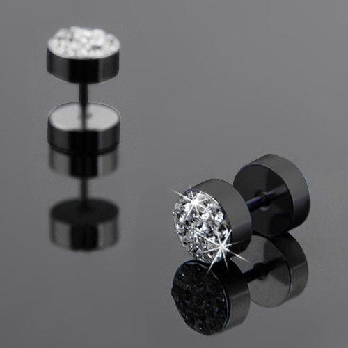 Men/'s Punk Stainless Steel Barbell Earrings Crystal Barbell Ear Studs Earrings