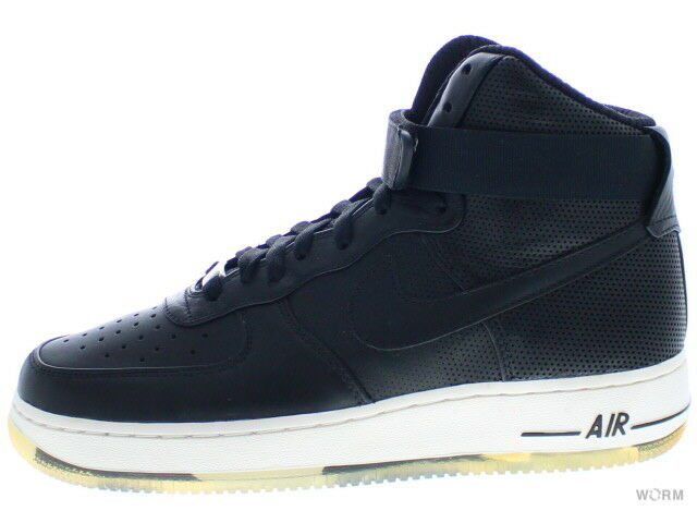 NIKE AIR FORCE 1 HIGH PREMIUM LE 386161-001 black/black-sail Size 8