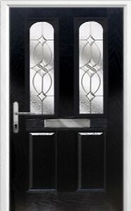 2 Panel 2 Arch Flair Composite Front Door in Black Various sizes