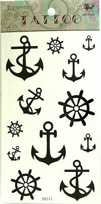 NAUTICAL TEMPORARY TATTOOS BLACK ANCHOR HELM FAKE TATTOOS BODY ART