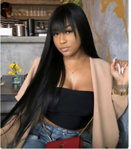 Women-039-s-Long-Straight-Black-Synthetic-Natural-Cosplay-Wig-Hair-Bangs-Full-Wigs