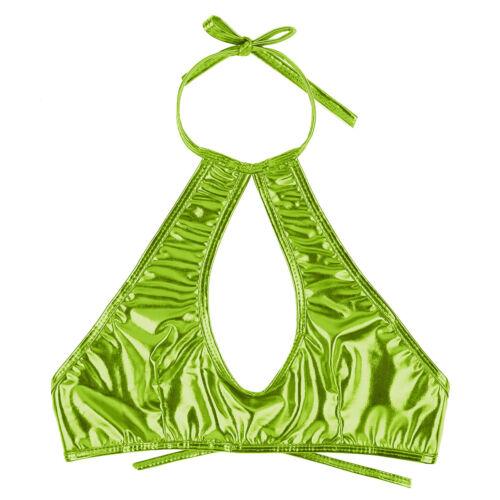 Women Shiny Leather Halter Keyhole Crop Top Vest Backless Bra Rave Dance Bustier