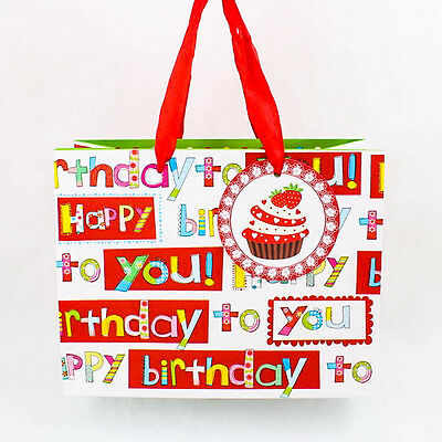 Happy Birthday Cupcake Celebrate Wedding Bow Paper Shopping Gift Party Bag A0925