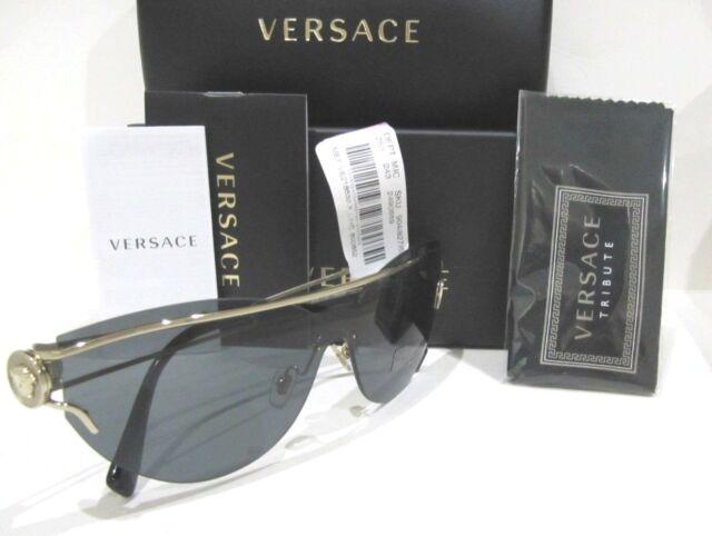 3a0368f76c52 Versace Medusa VE2186 Shield Sunglasses 125287 Grey Lens Gold Frame NWT  295